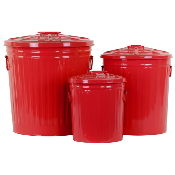 Red Metal Storage with Classic Garbage Can Design (Set of 3)