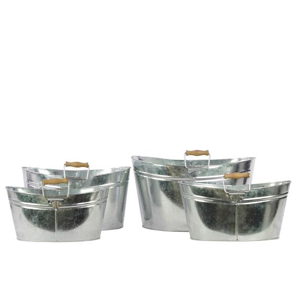 Zinc Metal Oval Bucket with Wood Handle (Set of 4)
