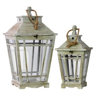Washed Wood Finish Wood Lantern with Rope Hanger and Glass Sides (Set of 2)