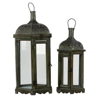 Stained Wood Finish Wooden Lantern with Metal Top and Looped Handle (Set of 2)