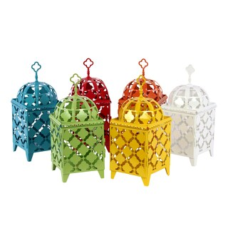 Blue, Red, Green, Yellow, Orange and White Metal Lantern (Set of 6)