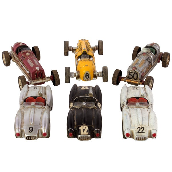 Dark Red, Yellow, Zinc, Silver, Black and White Resin Racing Cars (Set of 6)