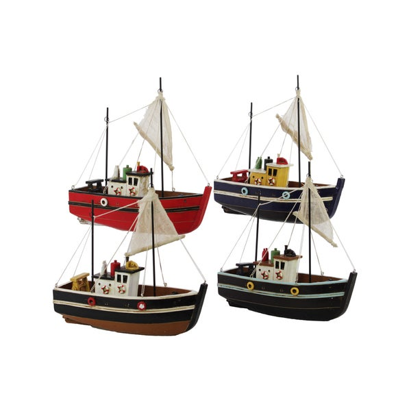 Brown, Blue, Black and Red Resin Boats (Set of 4)