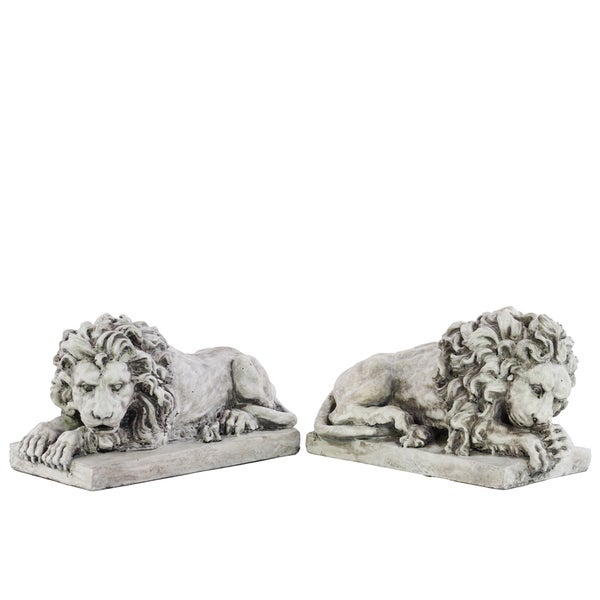 Light Grey Fiberstone Laying Lion with Base (Set of 2)