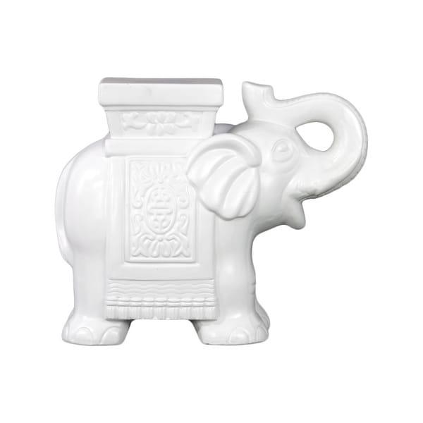 Cornice LG Matte White Ceramic Trumpeting Elephant