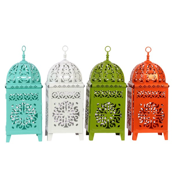 Teal, White, Yellow Green and Red Orange Metal Lantern (Set of 4)