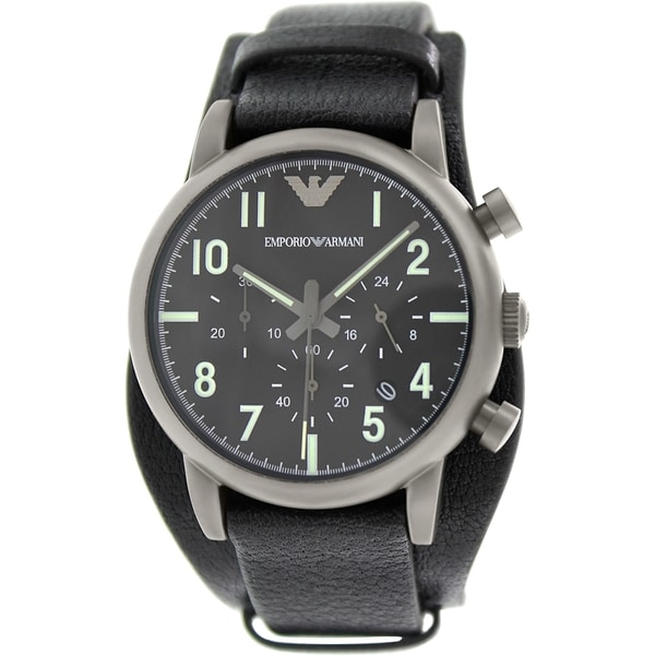 Armani Men's AR1830 Classic Round Black Strap Watch