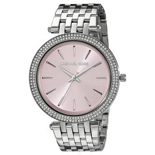 Michael Kors Women's MK3352 'Darci' Crystal-set Pink Dial Stainless Steel Watch