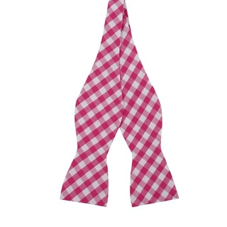 Skinny Tie Madness Men's Red Cotton Plaid Bowtie