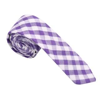 Skinny Tie Madness Men's Cotton Purple Plaid Skinny Tie
