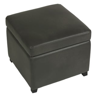 Cortesi Home Massimo Grey Bonded Leather Storage Ottoman with Hinged Top
