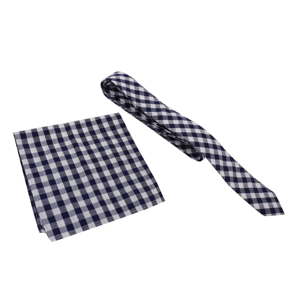 Skinny Tie Madness Men's Cotton Plaid Skinny Tie with Matching Pocket Square