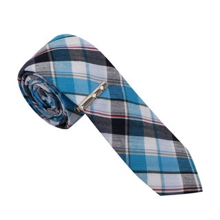 Skinny Tie Madness Men's Cotton Plaid Skinny Tie with tie clip