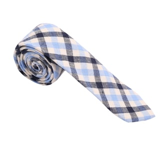 Skinny Tie Madness Men's Blue Cotton Plaid Skinny Tie