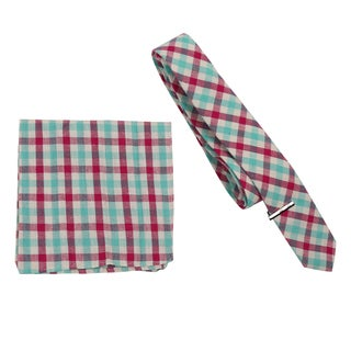 Skinny Tie Madness Men's Cotton Plaid Skinny Tie with tie clip and matching pocket square