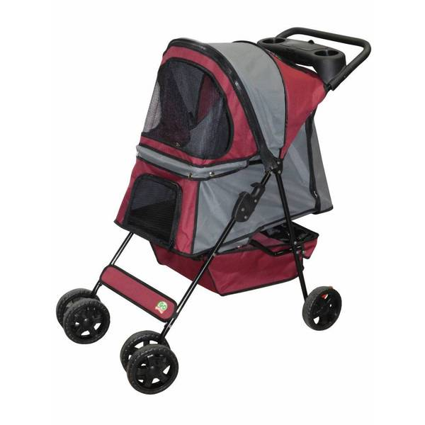 Go Pet Club Maroon/ Silver Pet Stroller