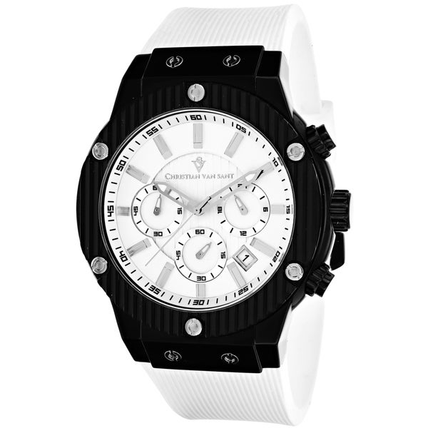 Christian Van Sant Men's CV8121B Monarchy Round White Strap Watch