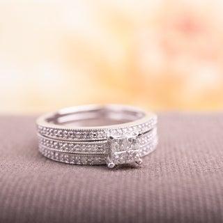Miadora 10k White Gold 3/8ct TDW Princess Diamond Bridal Ring Set (G-H, I2-I3)