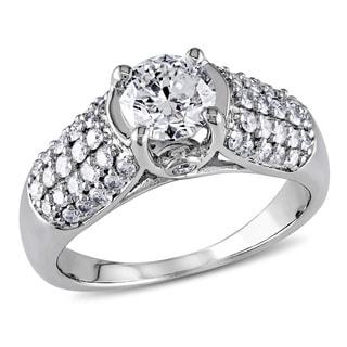 Miadora 14k White Gold 1 1/4ct TDW Round Diamond Ring (G-H, I2-I3)