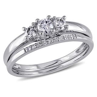 Miadora 10k White Gold 1/3ct Diamond 3-Stone Engagement Bridal Ring Set (G-H, I2-I3)