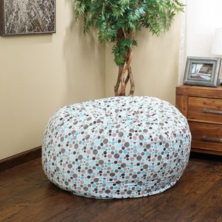 Christopher Knight Home Riley Faux Suede 3-Foot Polka-Dot Snow Lounge Beanbag Chair