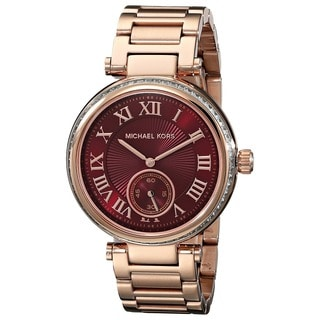 Michael Kors Women's MK6086 'Skyler' Red Dial Rose Gold Tone Stainless Steel Watch