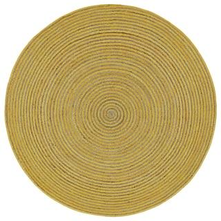 Natural Hemp /Yellow Cotton Racetrack (3'x3') Round Rug