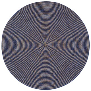 Natural Hemp/ Blue Cotton Racetrack (6'x6') Round Rug