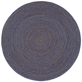 Natural Hemp/ Blue Cotton Racetrack (3'x3') Round Rug