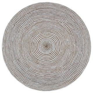 Natural Hemp/ White Cotton Racetrack Round Rug (8'x8')