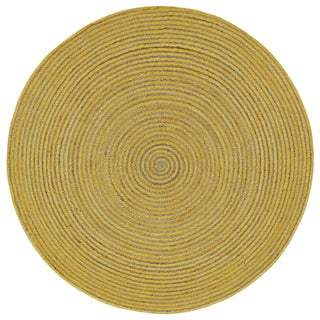 Natural Hemp/ Yellow Cotton Racetrack Round Rug (8'x8')