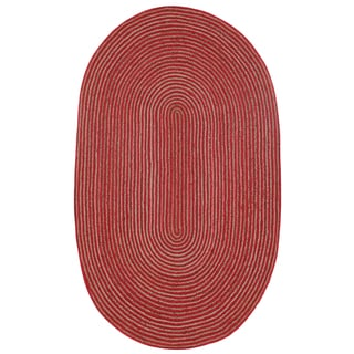 Natural Hemp/ Red Cotton Racetrack Oval Rug (5'x8')