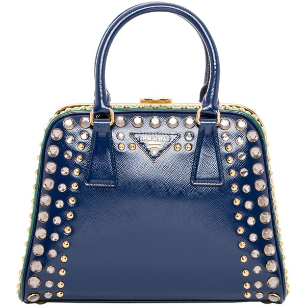 Prada Saffiano Vernice Embellished Frame Pyramid Top Handle Bag ...