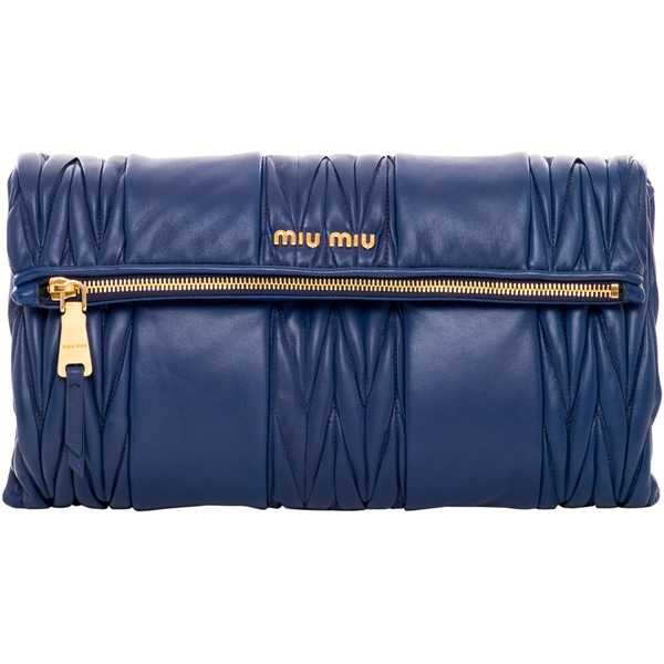 Miu Miu Indigo Matelasse Patch Shoulder Bag