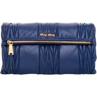 Miu Miu Indigo Matelasse Patch Shoulder Bag