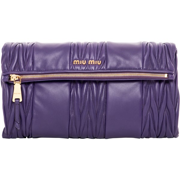 Miu Miu Purple Matelasse Patch Shoulder Bag