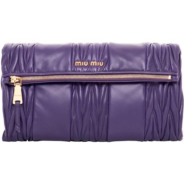 Miu Miu Purple Matelasse Patch Shoulder Bag