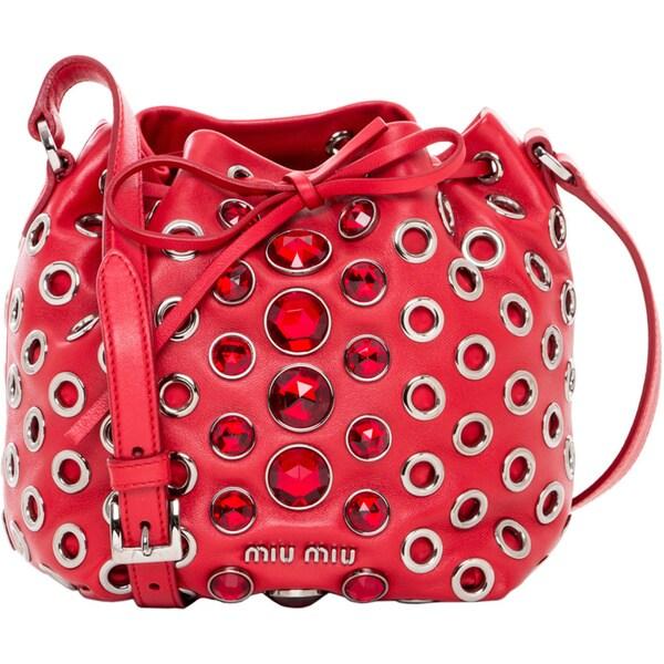 Miu Miu Mini Jewel Embellished Bucket Bag