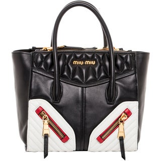 Miu Miu Small Black/ White Matelasse Leather Tote