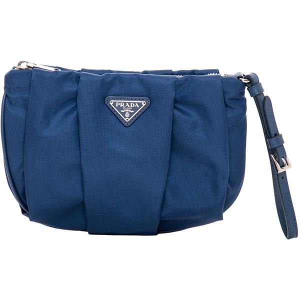 Prada Royal Blue Nylon Pleated Wristlet - 16928298 - Overstock.com ...