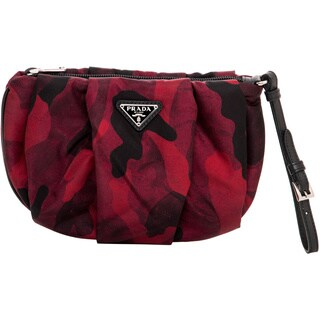 Prada Red/ Black Camo Pleated Nylon Wristlet