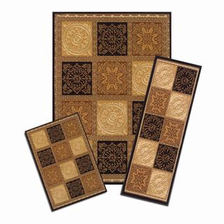 Capri Sarouk Squares Brown 3-piece Rug Set