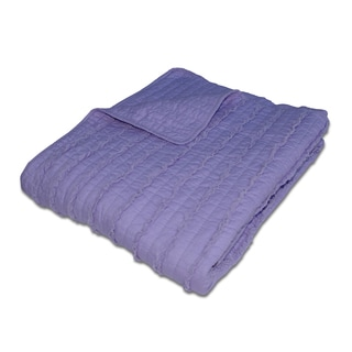 Ruffled Lavender Quilted Cotton Throw