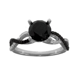 10k White Gold 2 1/3ct TDW Black and White Diamond Engagement Ring (G-H, I2-I3)