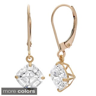 10k Gold 7mm Cushion Asscher-cut Cubic Zirconia Leverback Earrings