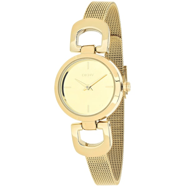 DKNY Women's NY2101 Goldtone D-link Mesh Bracelet Watch