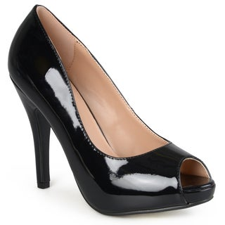 Journee Collection Women's 'Lowis' Patent Peep-toe Pumps