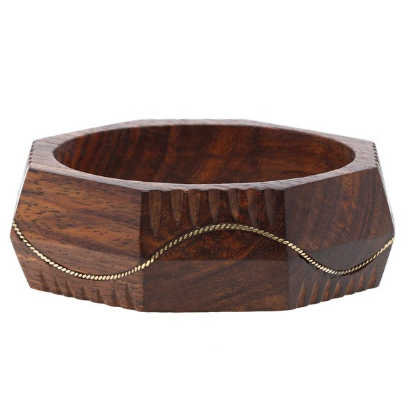 Silver Metal Design Waves Carved Wood Bangle (India)