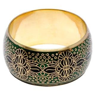 Sitara Handmade Green and Black Metallic Bangle Bracelet (India)