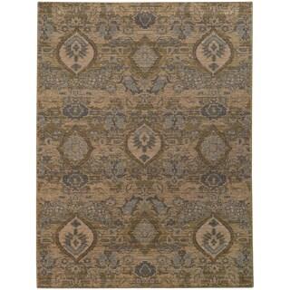 Heritage Floral Ikat Ivory/ Blue Rug (6'7 X 9'6)